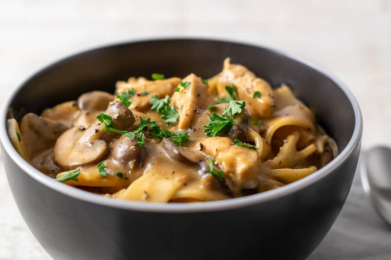 chicken stroganoff with mushrooms and parsley