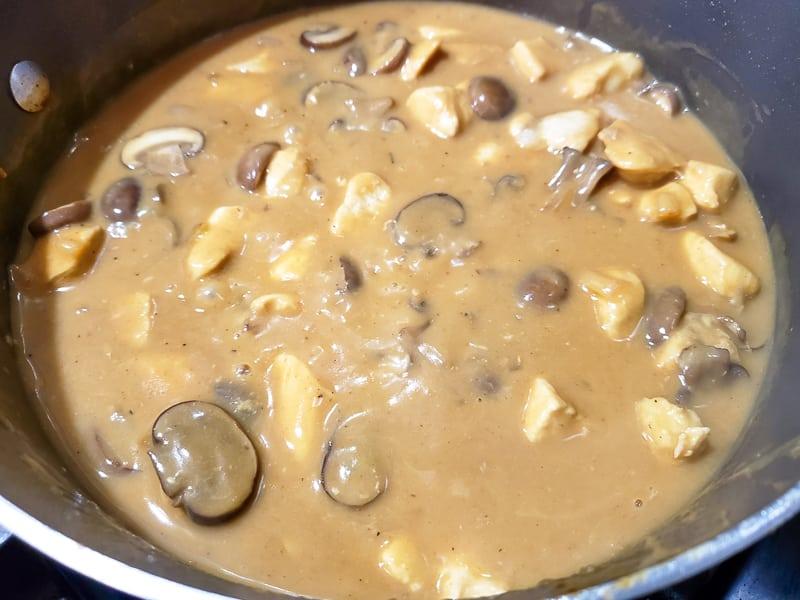 sour cream added to the stroganoff sauce