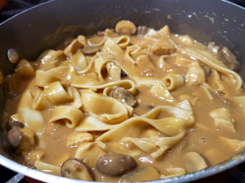 egg noodles added to the chicken stroganoff