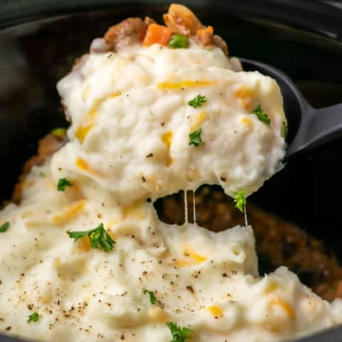 Crockpot Shepherd's Pie with a spoon scooping some out