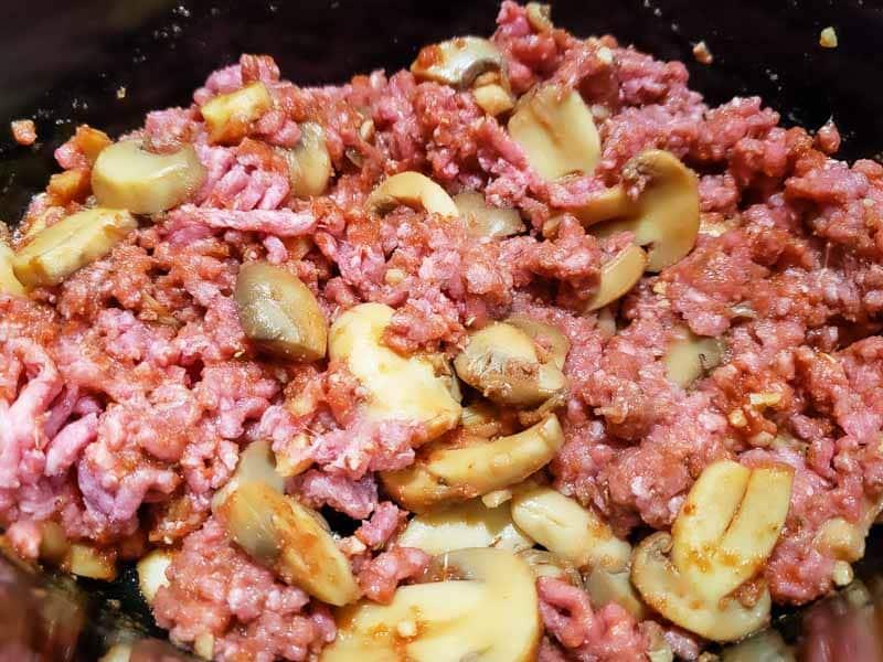tomato sauce mixture stirred into ground beef mixture