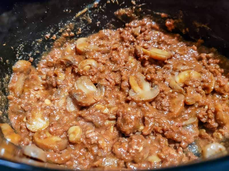 flour mixture mixed into the ground beef and tomato sauce mixture