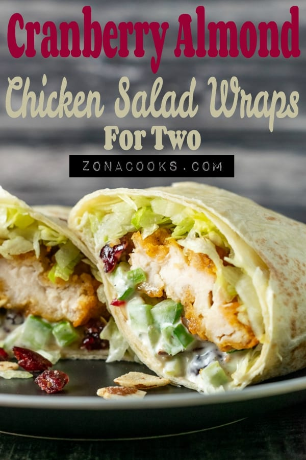cranberry almond chicken salad wraps cut open