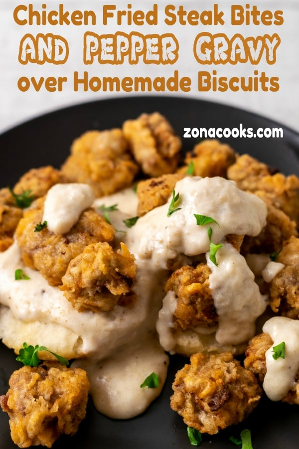 Chicken Fried Steak Bites and Pepper Gravy with Homemade Biscuits close up graphic