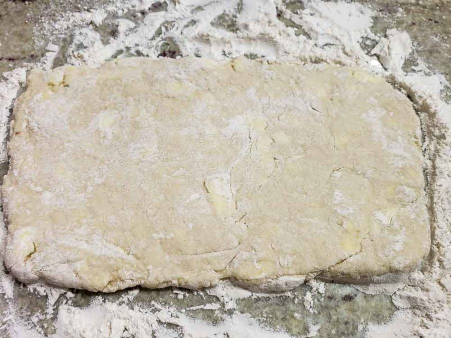 biscuit dough rolled into a rectangle