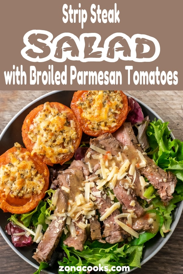 Strip Steak Salad with Broiled Parmesan Tomatoes graphic