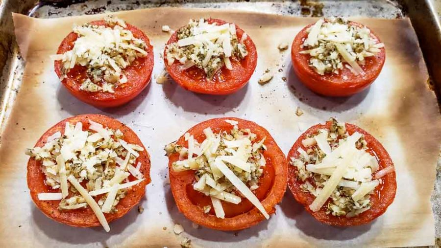 parmesan mixture on top of each half tomato