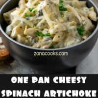 One Pan Cheesy Spinach Artichoke Chicken Pasta Dinner for Two