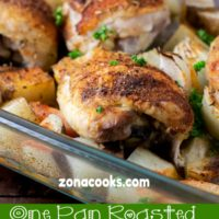 One Pan Roasted Chicken and Veggies Dinner for Two