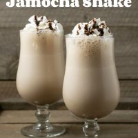 graphic with two Arby's Copycat Jamocha Shakes saying drinks for two