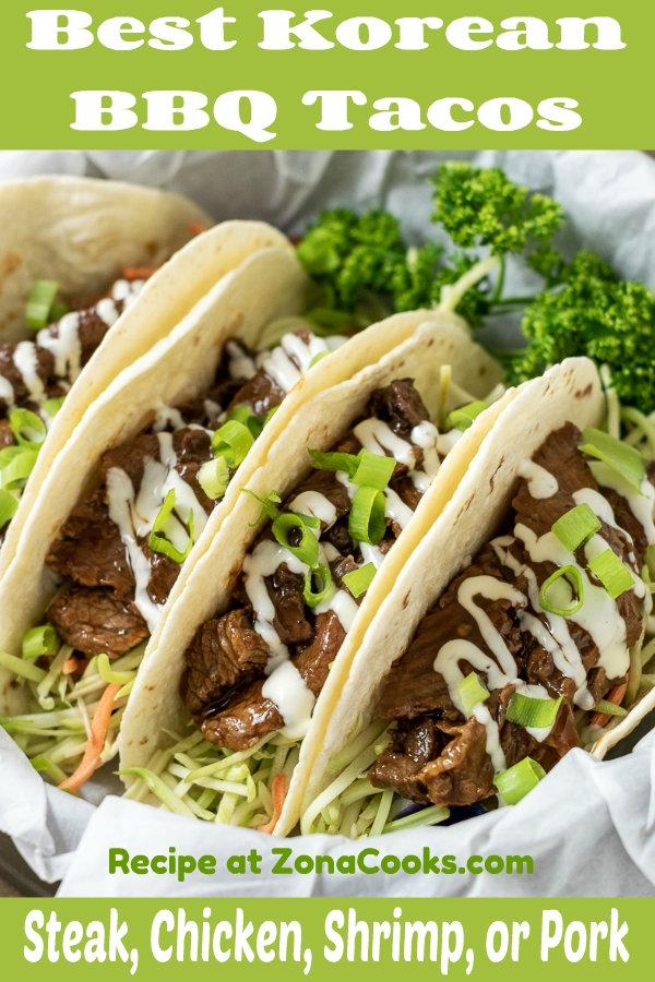 a graphic with 4 Korean BBQ Tacos in a basket
