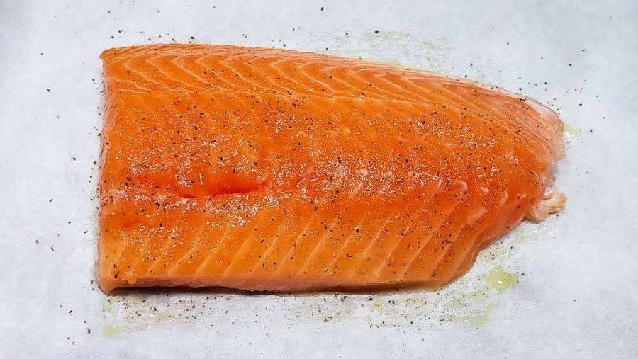 salmon filet sprinkled with salt and pepper