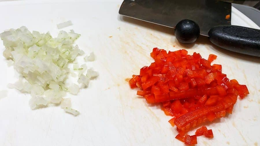 finely diced onion and red pepper