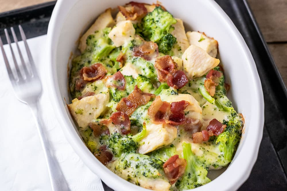 Low-carb Chicken Bacon Broccoli Bake up close