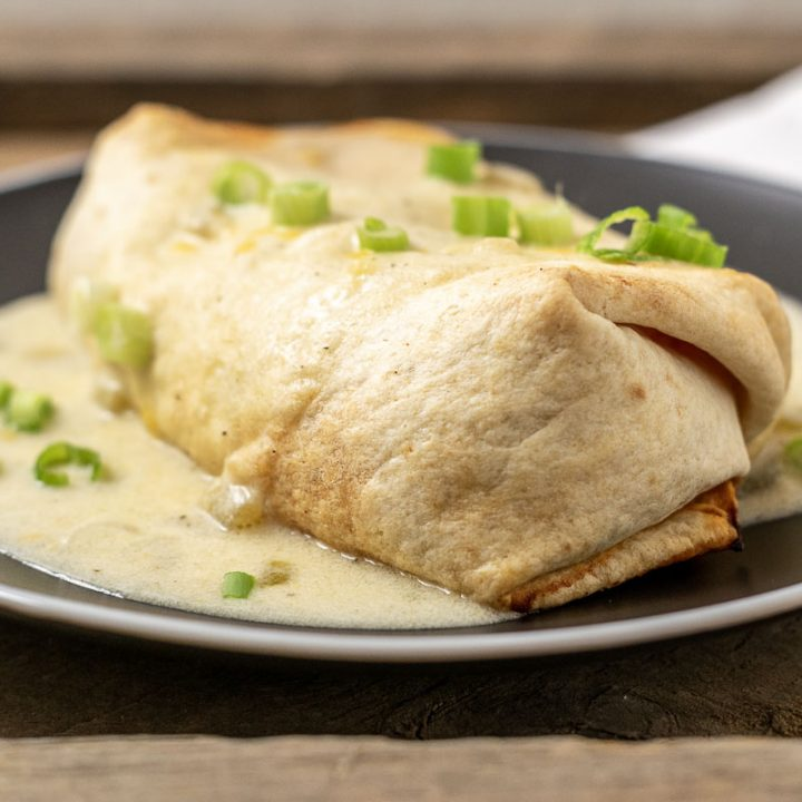 Crispy Chicken Chimichangas with Green Chili Sauce