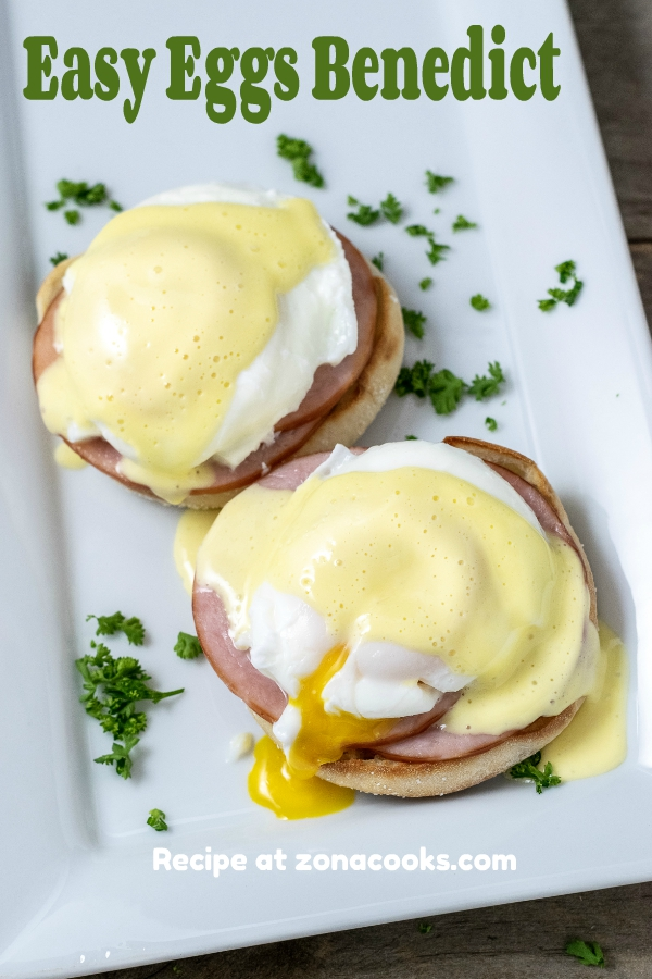 a graphic of Easy Eggs Benedict on a platter