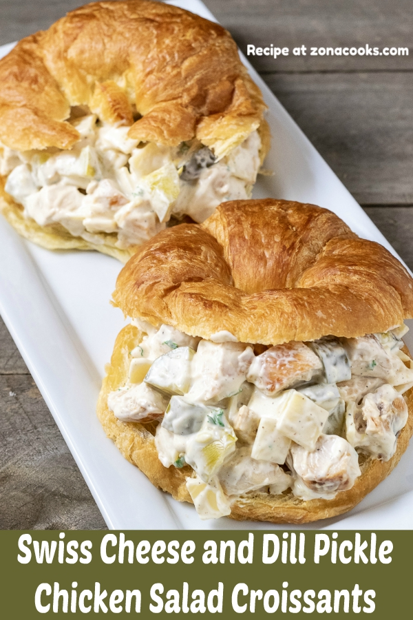 a graphic with two chicken salad croissant sandwiches on a platter