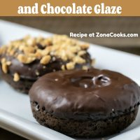 a graphic of Baked Chocolate Donuts with Chocolate Glaze small batch for two and has two donuts on a plate