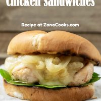 a graphic of a french onion chicken sandwich dinner for two on a crumpled paper