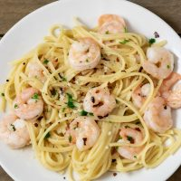 a graphic of Shrimp Scampi with Linguine Dinner For Two