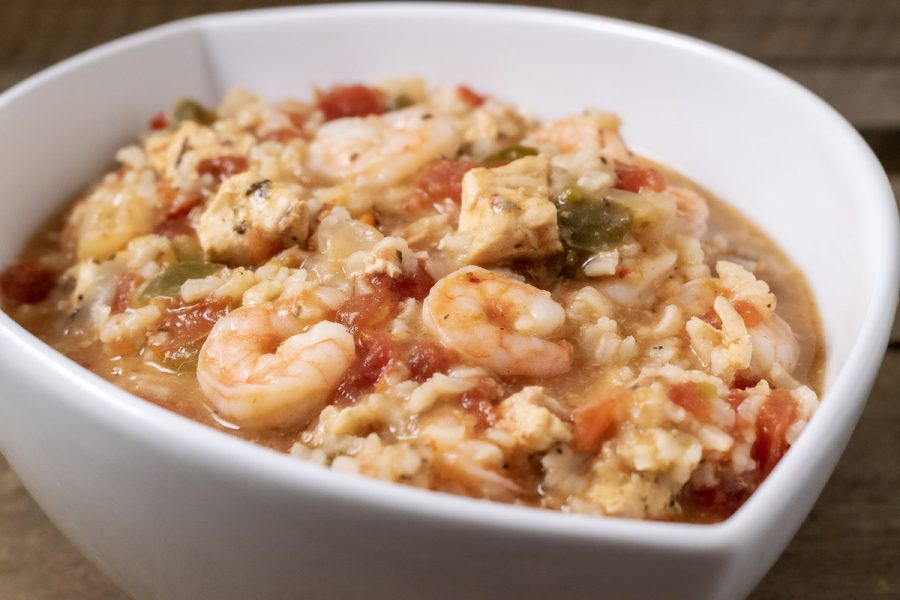 crockpot jambalaya served in a white dish