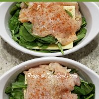 a graphic of White Cheddar and Spinach Stuffed Chicken in two dishes before baking