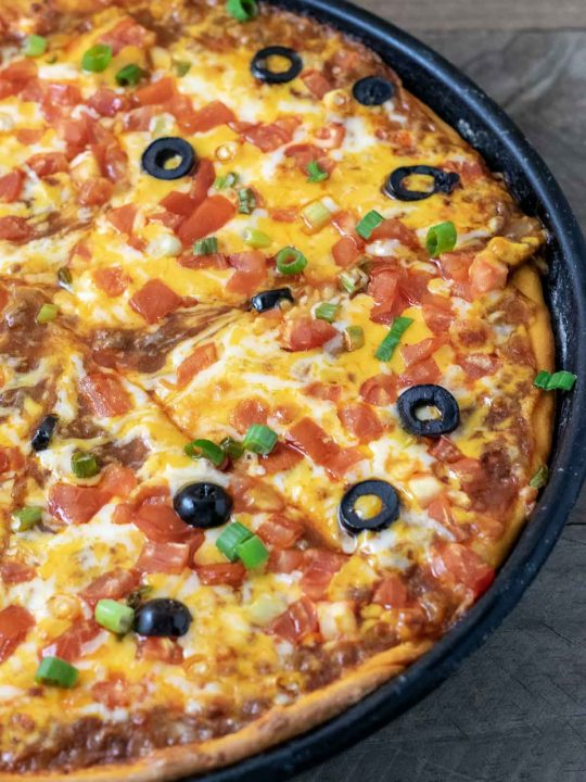 top down view of enchiladas pizza