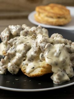Biscuits and Gravy for two on a plate