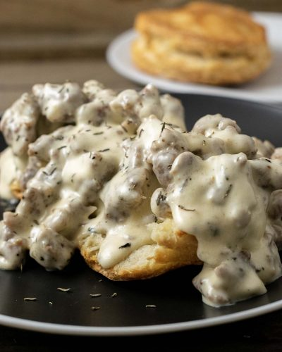 Sausage Gravy and Homemade Biscuits