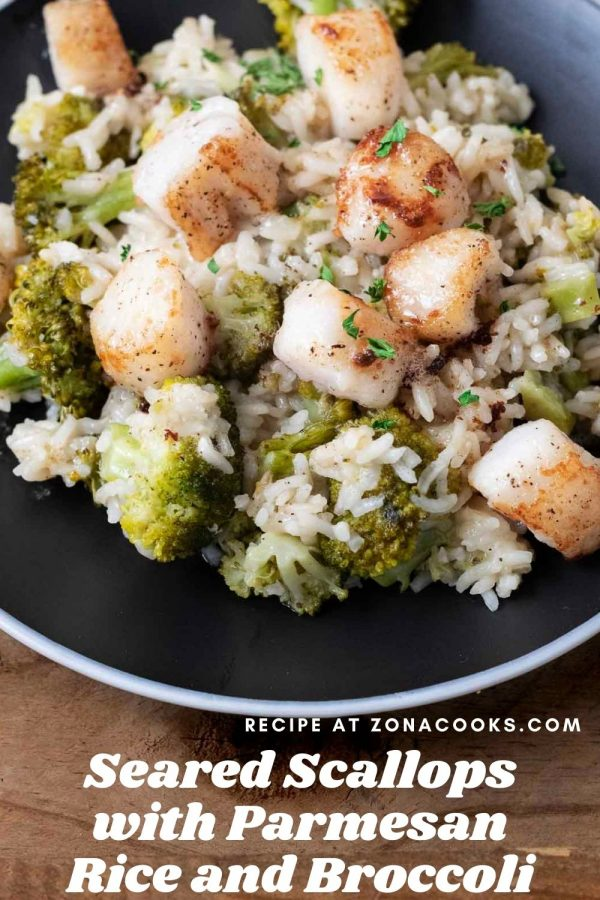 a graphic of Seared Scallops with Parmesan Rice and Broccoli served on a black plate