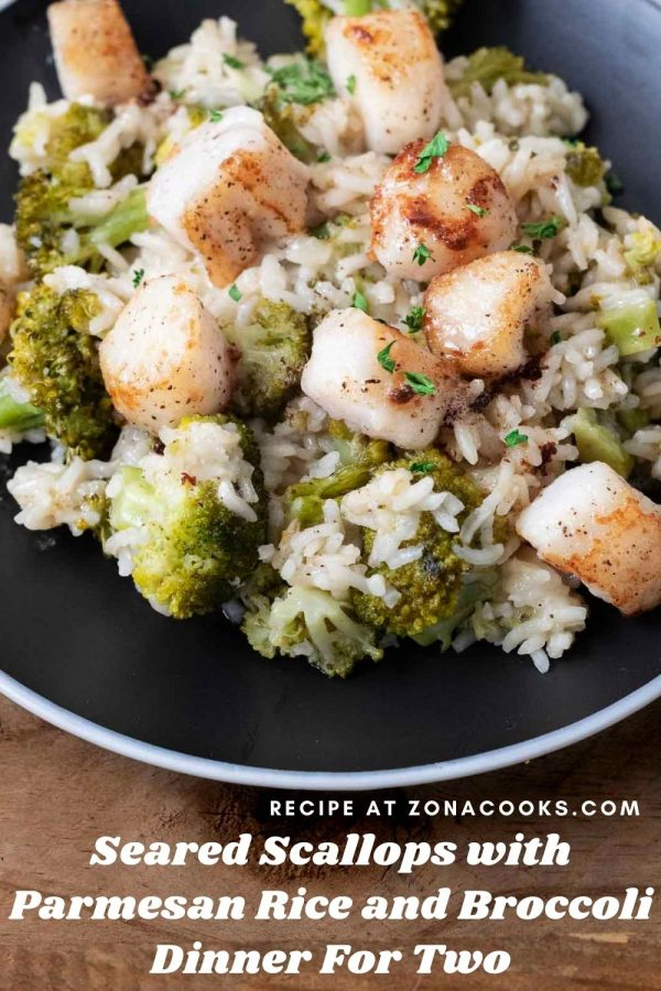 a graphic of Seared Scallops with Parmesan Rice and Broccoli Dinner For Two on a black plate