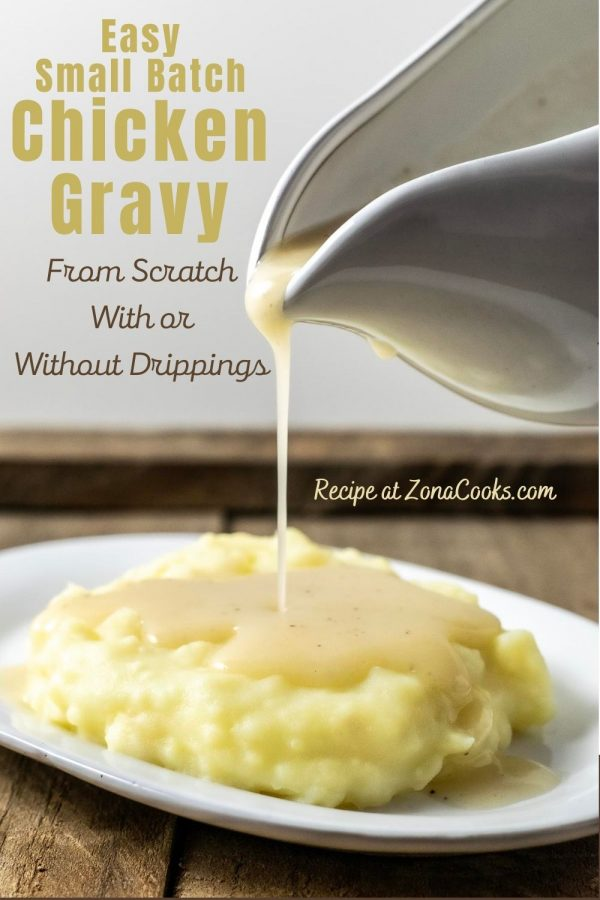 a graphic of Easy Small Batch Chicken Gravy From Scratch With or Without Drippings for Two