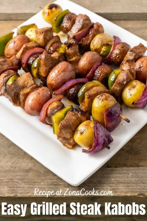 a graphic of Easy Marinated Grilled Steak Kabobs