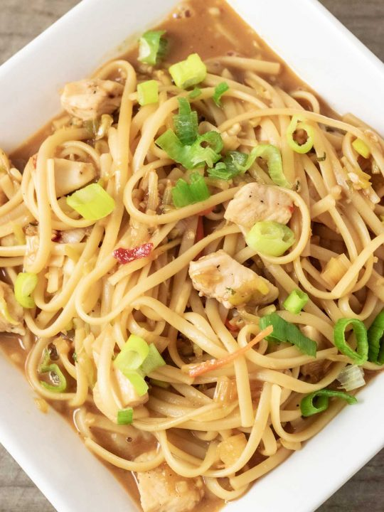 Chicken and Noodles in Thai Peanut Sauce in a square white bowl