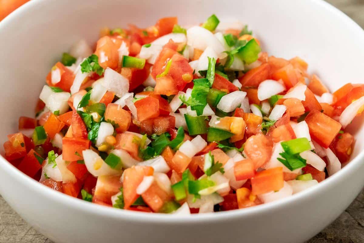 a bowl of pico de gallo fresh salsa.