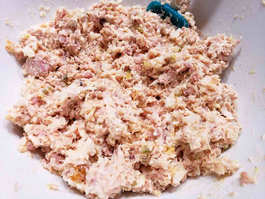 homemade ham salad spread mixed together in a bowl