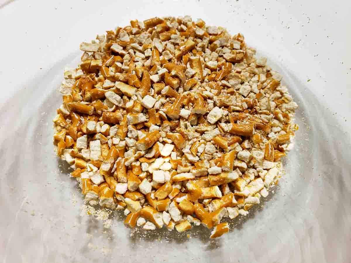 crushed pretzels in a bowl