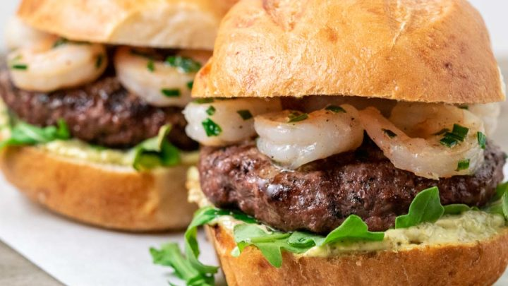 two sirloin burgers with shrimp.