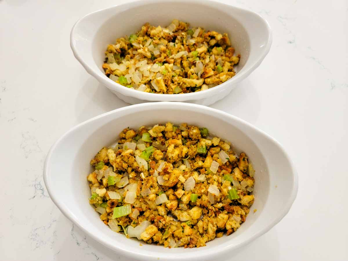 homemade stuffing in two casserole dishes.