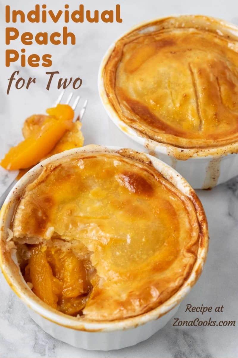 two individual Peach Pies in ramekin dishes.